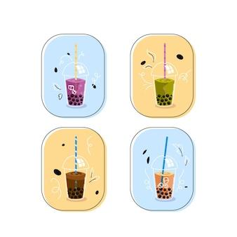 Conjunto de sabores de chá de bolhas de ilustração desenhada à mão