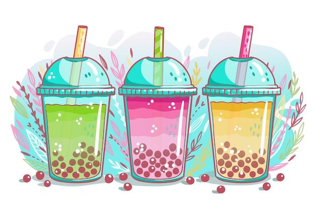 Conjunto de sabores de chá de bolhas desenhadas à mão