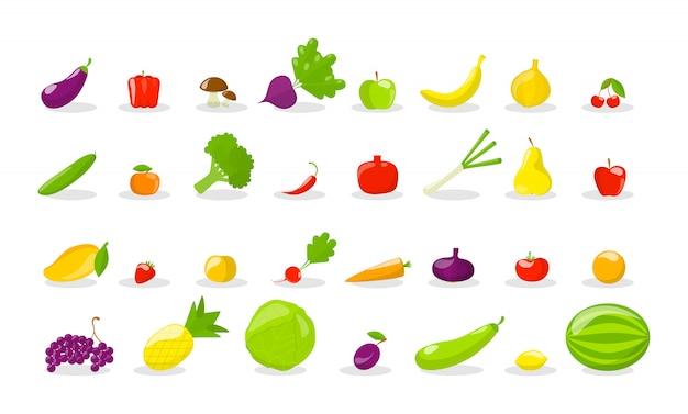 Conjunto de saborosas frutas e legumes frescos.