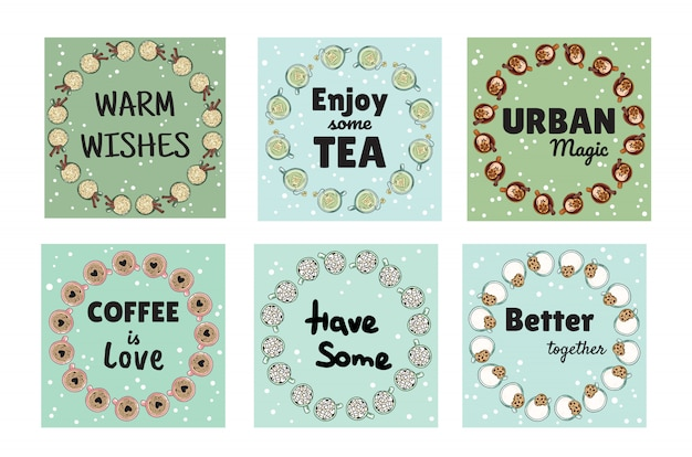 Conjunto de saborosos banners acolhedores com xícaras de café e chá