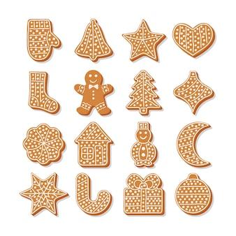 Conjunto de saborosos biscoitos de gengibre para o natal