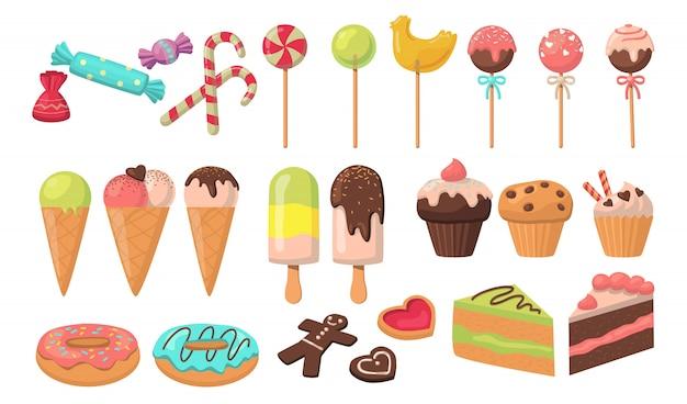 Conjunto de saborosos doces coloridos