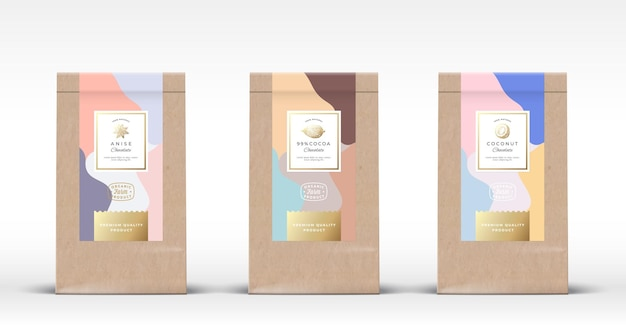 Conjunto de saco de papel artesanal com etiquetas de chocolate. layout de embalagem abstrato com sombras realistas.