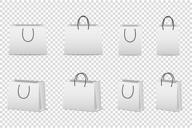 Conjunto de saco de papel branco em branco. modelo para. .