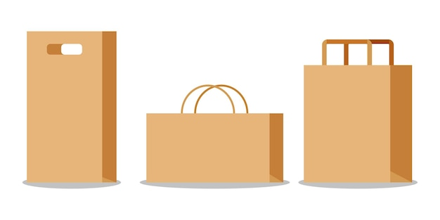 Conjunto de saco de papel kraft marrom vazio com alças.