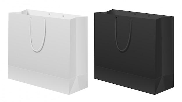 Conjunto de saco de papel preto, branco. carregar modelo de presente