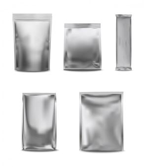 Conjunto de saco de plástico branco em branco da folha
