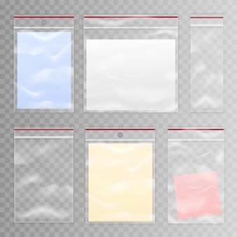 Conjunto de saco de plástico transparente cheio e vazio
