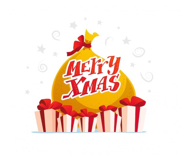 Conjunto de saco de presente e caixas de presente em fundo branco. feliz ano novo, feliz natal, elemento de decoração de natal. bom para cartão de felicitações,,. estilo de desenho animado.