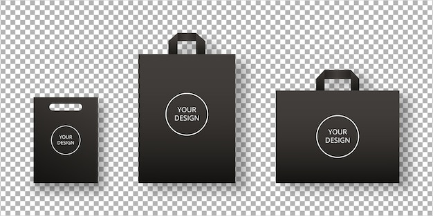 Conjunto de sacola de compras vazia. embalagem de sacola de papel. isolado. modelo de design. ilustração realista.