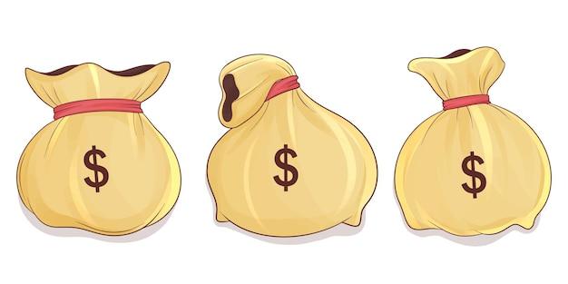 Conjunto de sacola de dinheiro desenhada à mão