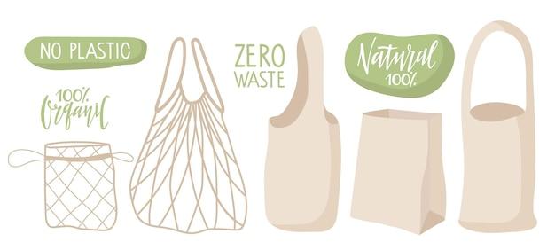 Conjunto de sacola ecológica diferentes opções de sacola papel de corda de lona pacote de tecido ecológico shopper