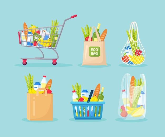 Conjunto de sacolas de compras, cesta, carrinho, carrinho. compras de supermercado, papel, tecido, embalagens plásticas, sacola ecológica de malha de barbante com produtos. alimentos naturais, frutas e vegetais orgânicos. mercadorias de loja de departamentos