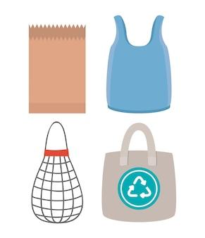Conjunto de sacolas de mercado