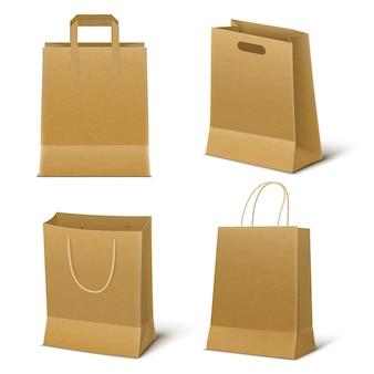 Conjunto de sacolas de papel vazio