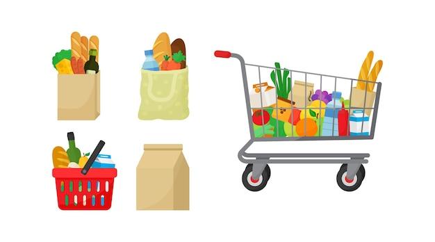 Conjunto de sacolas de supermercado cesta de alimentos e carrinho de compras conceito de loja e loja de produtos