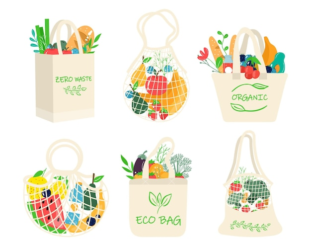 Conjunto de sacolas ecológicas com legumes, frutas e bebidas saudáveis. alimentos lácteos em rede de compras ecológica reutilizável. resíduos zero, conceito livre de plástico. design moderno e plano