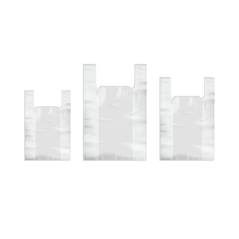 Conjunto de sacolas plásticas descartáveis vazias brancas com alças fechar isolado no fundo branco
