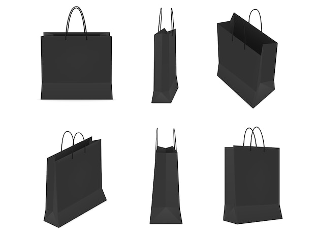 Conjunto de sacolas pretas de plástico ou papel com alças em fundo branco.