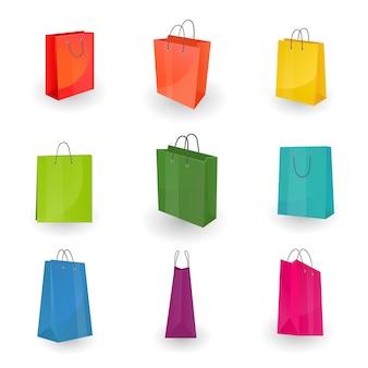 Conjunto de sacos coloridos de compras ou presentes de papel no fundo branco