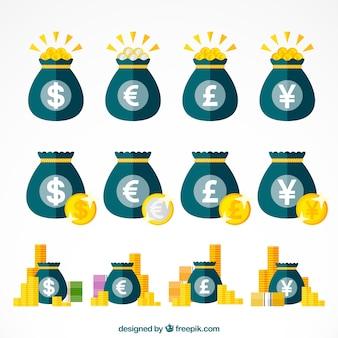 Conjunto de sacos com símbolos de moeda