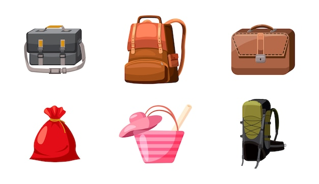 Conjunto de sacos. conjunto de desenhos animados de bolsa