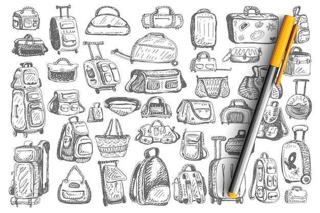 Conjunto de sacos de doodle.