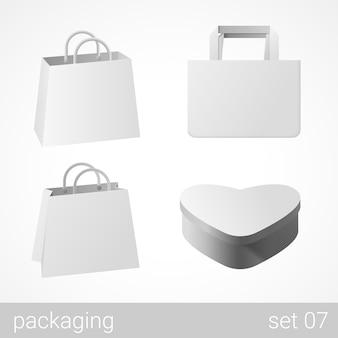 Conjunto de sacos de papelão e embalagem de presente