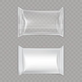 Conjunto de sacos de plástico brancos e transparentes.