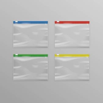 Conjunto de sacos de zíper de plástico transparente vazio colorido