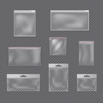 Conjunto de sacos zip transparentes.