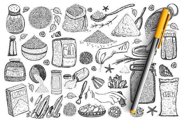 Conjunto de sal doodle.