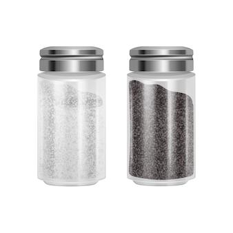 Conjunto de sal e pimenta. par de shaker de vidro transparente com tampa de metal.