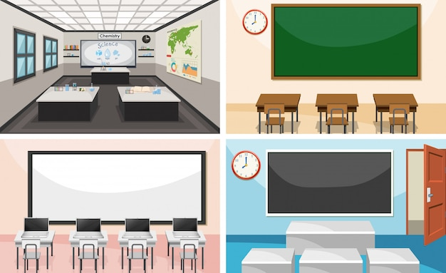 Conjunto de sala de aula moderna