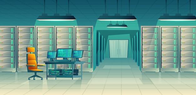 Conjunto de sala de controle dos desenhos animados com racks de servidor, mesa. banco de dados, data center para hospedagem