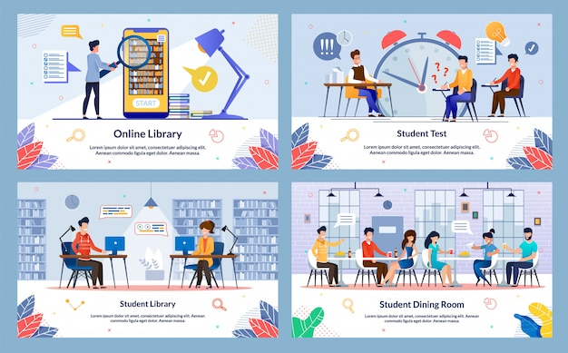 Conjunto de sala de jantar do aluno, biblioteca on-line, slide.
