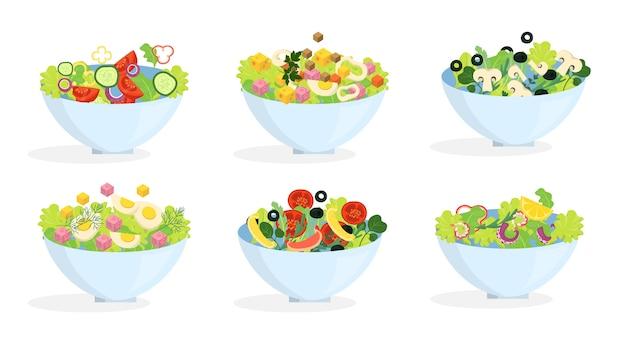Conjunto de salada orgânica fresca. jantar saudável feito de vegetais
