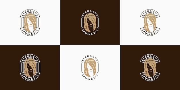 Conjunto de salão de beleza feminino e design de logotipo de spa, estilo de cabelo, corte de cabelo