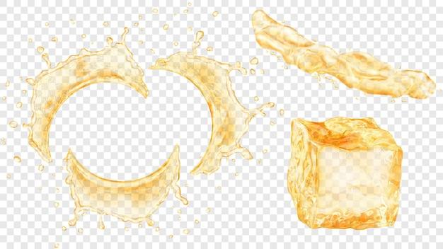Conjunto de salpicos de água semicircular translúcida com gotas, jato de líquido e cubo de gelo nas cores amarelas, isolado em fundo transparente. transparência apenas em formato vetorial