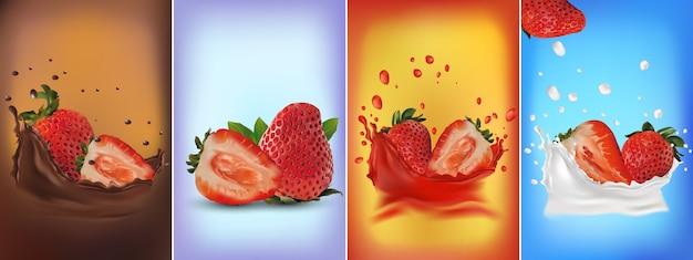 Conjunto de salpicos de chocolate de morangos maduros fatiados e inteiros frescos, morangos em um toque de leite ou iogurte. ilustração 3d