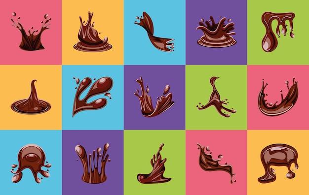 Conjunto de salpicos de chocolate e cacau