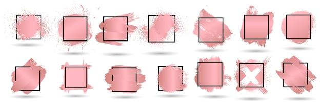 Conjunto de salpicos de grunge rosa dourado