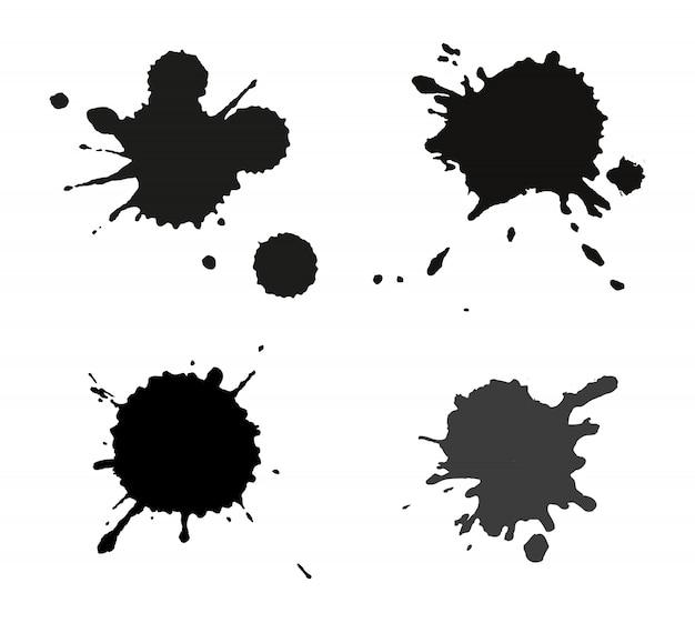 Conjunto de salpicos de tinta preta