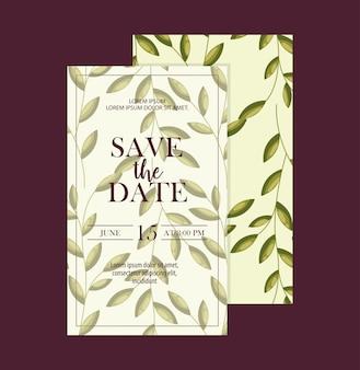 Conjunto de salvar os cartões de data com folhagem de folhas