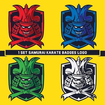 Conjunto de samurai com capacete e logotipo do emblema do cinto de artes marciais