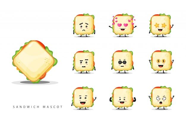 Conjunto de sanduíche bonito mascote