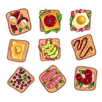 Conjunto de sanduíche caseiro fresco e saboroso colorido para o almoço