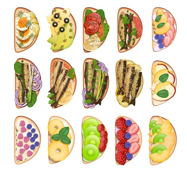 Conjunto de sanduíches de lanches tostados