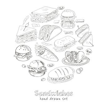 Conjunto de sanduíches desenhados à mão