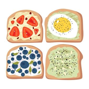 Conjunto de sanduíches saudáveis com vegetais e frutas. sanduíches abertos saudáveis